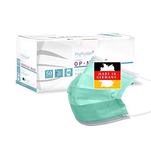 ProPulsan - 50 Stück Einwegmaske CE-Zertifiziert - Grün I 100% Made IN Germany I Mund- Nasenschutz I 3-lagige OP-Maske Typ IIR I Medizinprodukt aus Deutscher Herstellung