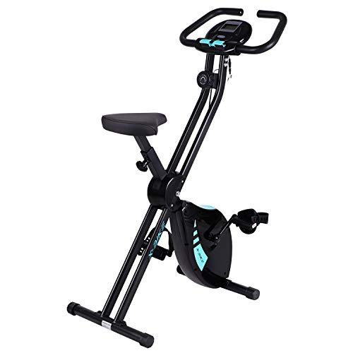 Hadwin F Bike Indoor Exercise Bike Folding Fitness Machine with Adjustable Seat, LCD Monitor,Black