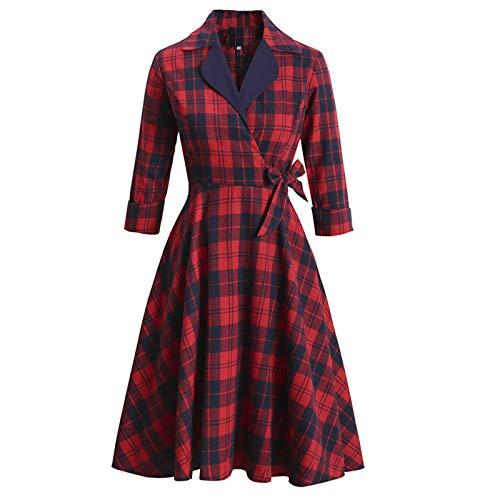 SLYZ Nuevo Vestido A Cuadros Rojo De Estilo Retro para Damas Europeas Y Americanas con Un Gran Temperamento De Mangas Largas Y Esponjosas