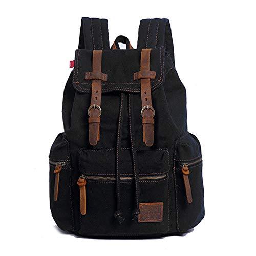 Canvas Rucksack Vintage Unisex Casual Leather Backpack Bookbag Satchel Hiking Backpack Travel Outdoor Shouder Bag (Black)