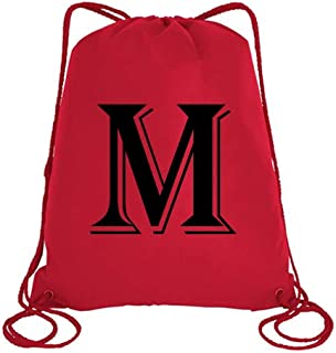 IMPRESS Drawstring Sports Backpack Red with Algerian Letter M