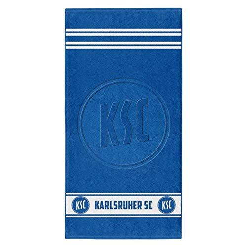 Karlsruher SC Duschtuch blau - hochtief - Badetuch 70 x 140 cm Strandtuch, Handtuch KSC (L)