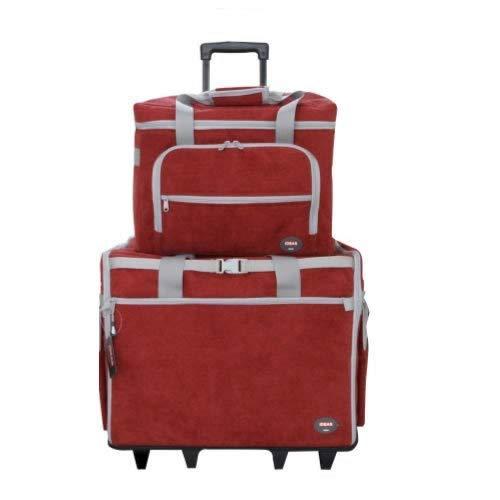 Ideas Maleta Trolley Roja con clasificadores para máquina de Coser con departamentos para Accesorios