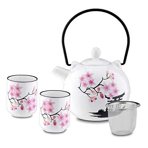 Panbado Juego de Té de Porcelana Japonesa, Contiene 1 Tetera de 700 ml con 2 Tazas de Té de 150 ml y Colador de Té de Acero Inoxidable, Decoración de Cerezos en Flor Torii