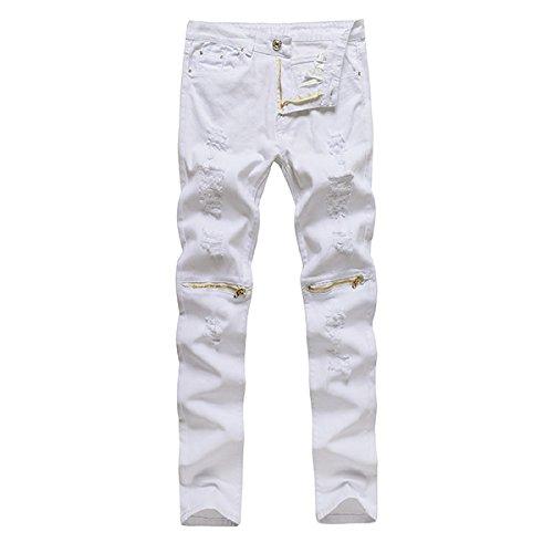 Alamor Heren Punk Stijl Ripped Jeans Skinny Potlood Broek Rits Knie Broek 4 Kleuren-Wit 2-32