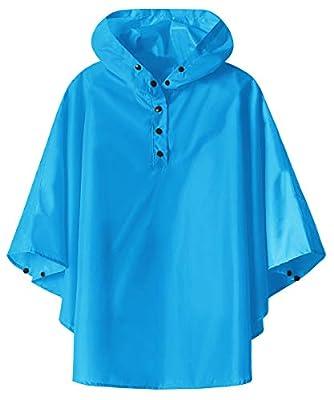 Waterproof Rain Cape Poncho for Boys Girls(Blue,Medium)