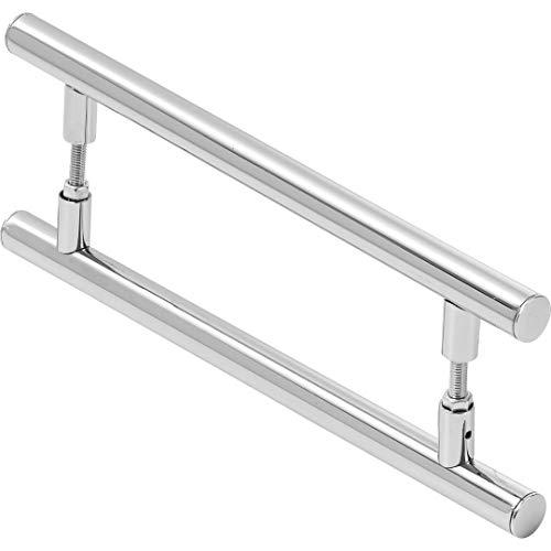 Puxador De Porta Redondo Para Vidro E Madeira 80cm, MetalCromo, Alto Brilho