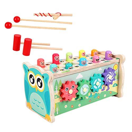 Wenhe Wooden Hammering Pounding Bench - Juguete pedagógico de motricidad fina para niños de 2, 3, 4 y 5 años