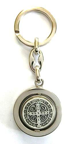 GTBITALY 50.001.10 portachiave San Benedetto con medaglia Girevole Argento Chiesa prete Suora esorcismo Santo 9 cm