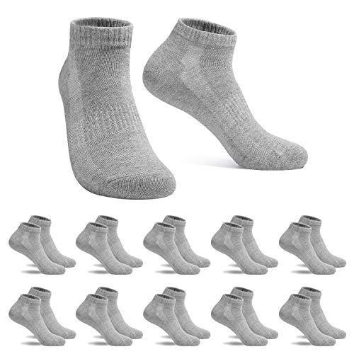 FALARY Sneaker Socken Herren Damen Sportsocken 10Paar Atmungsaktives Laufsocken Baumwollsocken Kurze Halbsocken 43-46 Grau