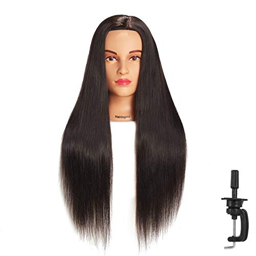 Hairingrid 26'-28' Mannequin Head Hair Styling Training Head Manikin Cosmetology Doll Head Synthetic Fiber Hair and Free Clamp Holder (Black)