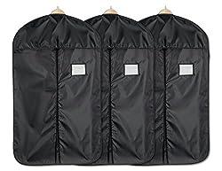 blupalu I 3 x Premium Kleidersack I Kleiderhülle I Kleiderschutzhülle mit Reißverschluss I aus atmungsaktivem Material I Wasserabweisend I schwarz I 60 x 100 cm