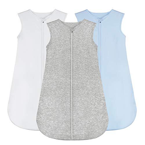 Yoofoss Baby Schlafsack 100% Baumwolle 3er Pack Baby Ganzjahresschlafsack ohne Ärmel Einfarbige für 6-18 Monaten Jungen & Mädchen