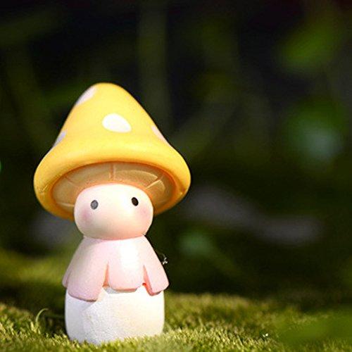 Y & B Mini Fée Champignon Jardin Coloré miniature champignons jaune