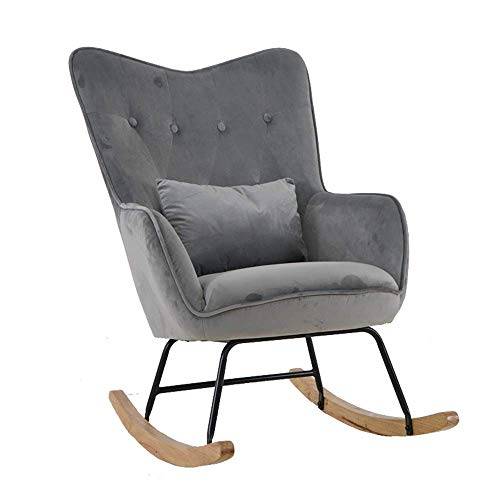 YO-TOKU Rocker Relax Rocking Chair Light Grey Lounge Chair Recliner Relaxstoel Met zachte kussen (Kleur: Grijs, Maat: 95x90x58cm) Stoelen Living Room Furniture