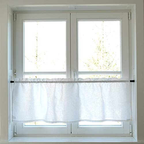 Varvara Home Cortina de café de lino blanco – Media cortina – Cortina de cocina – Cortina de panel corto – Cortinas para cocina (45,7 x 139,7 cm)