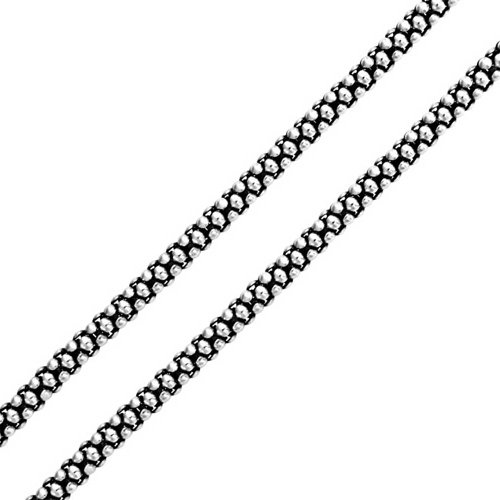 Bali Style Thin 925 Sterling Silver Coreana Black Antiqued Popcorn Chain Necklace For Men For Women 3MM 20 Inch