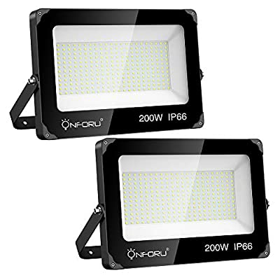 Onforu 2 Pack 200W LED Flood Light, 22000lm Super Bright Security Lights, IP66 Waterproof Outdoor Flood Light, 5000K Daylight White Floodlight for Yard, Garden, Playground, Basketball Court
