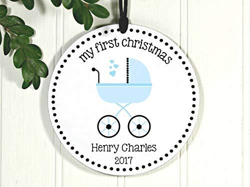 Dkisee Baby kinderwagen Ornament, Baby's Eerste Kerstmis, S Nieuwe baby Ornament, Exclusieve Porselein Kerstmis Ornament Keramisch Ornament 3.1 inch