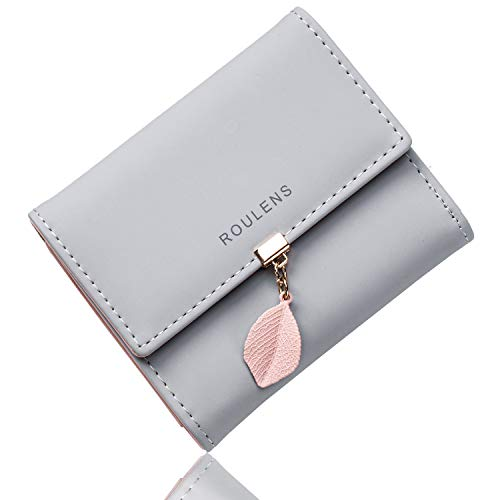 Roulens Cartera de Mujer con RFID Monedero Corto Adorno Hoja Colgante Cartera Minimalista con Bolsillo de Cremallera para Monedas