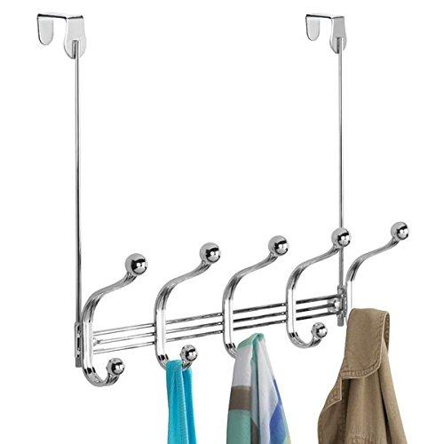mDesign Appendiabiti per porta con 5 ganci appendiabiti doppi – appendiabiti da parete o da porta – Guardarobe per cappotti, giacche, accappatoi ed asciugamani – cromo