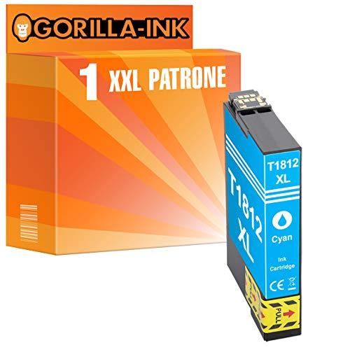 Gorilla-Ink 1 Patrone XXL kompatibel mit Epson T1632 16XL Cyan | Workforce WF-2010 WF WF-2510 WF-2520 NF WF-2530 WF WF-2540 WF WF-2630 WF WF-2650 DWF WF-2660 DWF WF-2750 DWF WF-2760 DWF