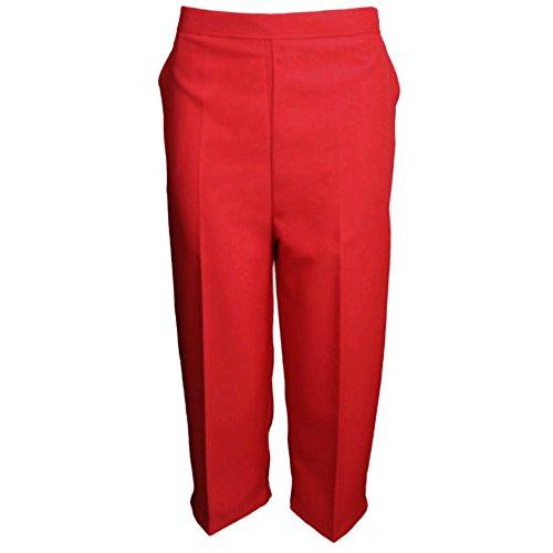 MyShoeStore - Pantaloni da donna con vita elasticizzata, a 3/4, taglia grande Red 46