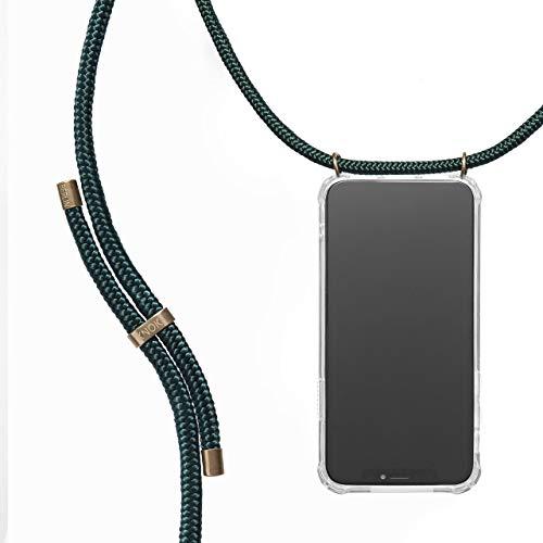 KNOK Handykette Kompatibel mit Apple iPhone 11 Pro Max - Silikon Hülle mit Band - Handyhülle für Smartphone zum Umhängen - Transparent Case mit Schnur - Schutzhülle mit Kordel (Green Forest)