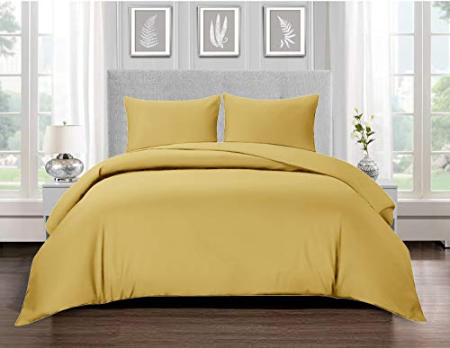 Renoazul Yolk Yellow Duvet Cover Sets King Size Bedding Set 100% Egyptian Cotton Washable Anti Allergic 3 PCs Complete Bed Set with Matching Pillow Cases