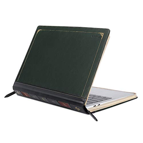 MOSISO PU Leder Hülle Kompatibel mit 2020-2018 MacBook Air 13 A2179 A1932/2020-2016 MacBook Pro 13 A2251 A2289 A2159 A1989 A1706 A1708, Vintage Buch Folio Fall Cover, Deep Teal