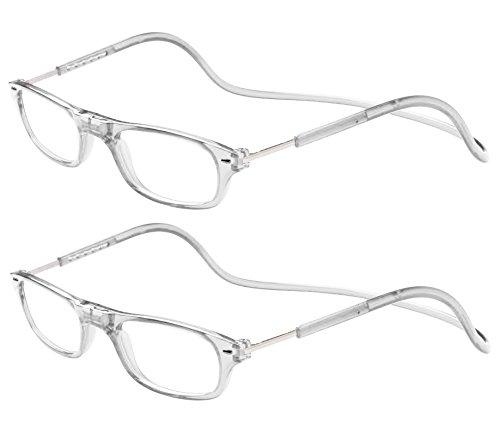 TBOC Pack: Gafas de Lectura Presbicia Vista Cansada – (Dos Unidades) Graduadas +1.50 Dioptrías Montura Transparente Hombre Mujer Imantadas Plegables Lentes Aumento Leer Ver Cerca Cuello Imán