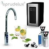 SPRUDELUX Blue Diamond Système d'eau potable sous table avec robinet supplémentaire 3 voies + bouteille de CO2 6 kg Machine à gazéifier professionnelle pour la maison privée. Eau minérale pétillante