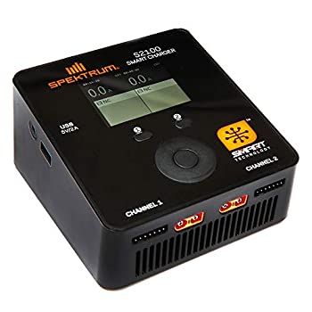Spektrum S2100 Smart Charger  200W  2x100W  AC Dual Output Lipo Battery Charger with Usb | LCD Color Display | IC3 Connector  EC3 Compatible