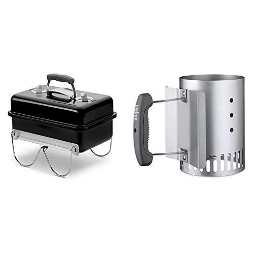 Weber 1131004 - Barbecue a carbone Go-Anywhere Nero & 7447 Ciminiera per barbecue a carbone