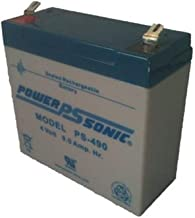 Powersonic PS-490 - 4 Volt/9 Amp Hour Sealed Lead Acid Battery with 0.250 Fast-on Connector