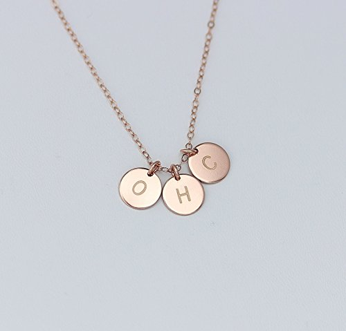 Personalized Rose Gold Three Four Initials Necklace, Monogram Pink Gold Necklace, Sister Necklace, Best friends, Family Mothers Necklace
