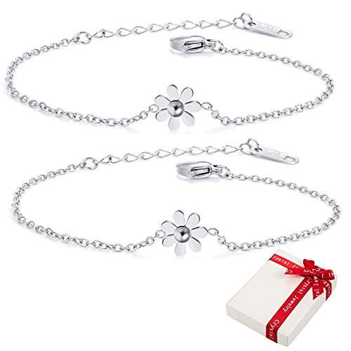 2 pulseras de mujer de margaritas plateadas con caja de regalo, pulsera para mujer de oro rosa de acero inoxidable 316, regalo para niñas y mujeres, pulsera sencilla para regalar a novia