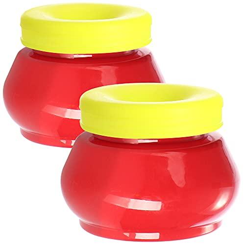 com-four® 2X Fruchtfliegenfalle - Insektenfalle für Fruchtfliegen, Essigfliegen und Obstfliegen - Trichterfalle mit wirksamen Lockstoff - insektizidfrei (rot + gelb)