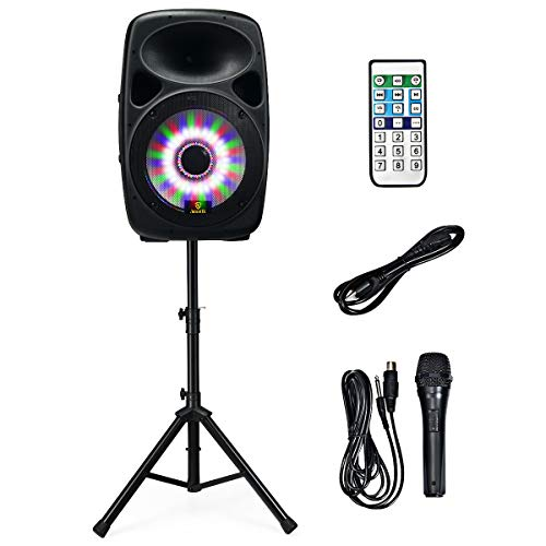 AKUSTIK 15'' 1600W Portable PA Speaker System with LED Light Effects, 2-Way Full Range Powered Speaker with Wheels, Speaker Stand/Microphone/Bluetooth/EQ/USB/SD/FM, DJ Loudspeaker with Remote Control