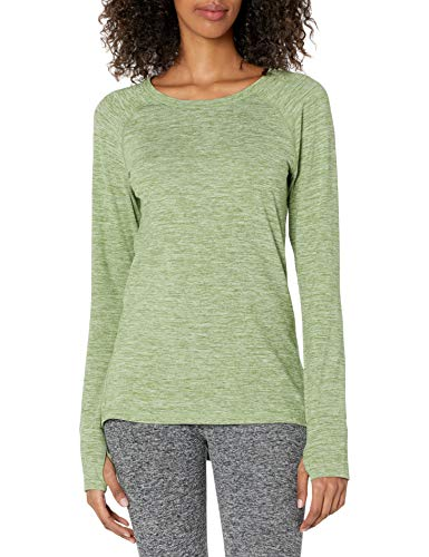 Amazon Essentials Brushed Tech Stretch Long-Sleeve Crew Athletic-Shirts, Verde Caqui, L