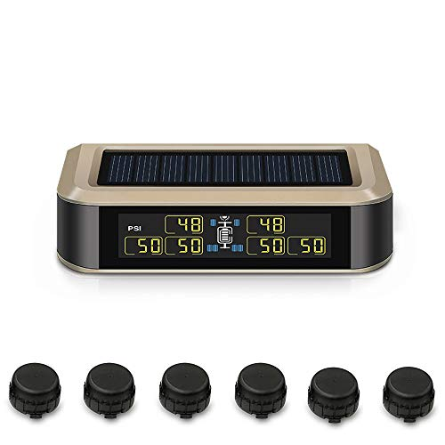 B-Qtech Newest Wireless TPMS Solar Power Tire Pressure Monitoring System RV Truck TPMS with 6 Sensors and with Booster for Car RV Truck Tow Motorhome Travel Trailer's Pressure and Temperature