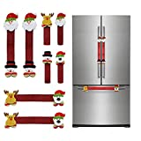 CREPRO Christmas Refrigerator Handle Covers Set of 8, Adorable Santa Snowman Door Handle Cover Kitchen Appliance Handle Covers for Fridge Microwave Oven Dishwasher Christmas Holiday Decoration