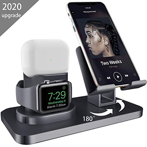 AICase Ständer für Apple Watch Airpods Pro/Airpods 2/1, 3 in 1 Handy Halter ipad Airpods Ständer Ladestation mit Kabelkanal Docking Station für iWatch Series 5/4/3/2/1 AirPods iPhone iPad Tablet