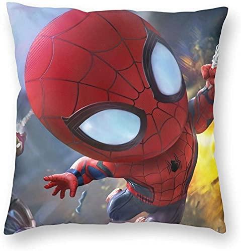NIUPEE Funda de almohada de Marvel Spiderman de Marvel Avengers Funda de cojín de decoración suave y cómoda, diseño de hombre araña de anime, 40,6 x 40,6 cm