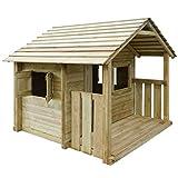 Festnight Outdoor Spielhaus Kinderspielhaus mit 3 Fenstern Holzhaus Gartenhaus 204 x 204 x 184 cm