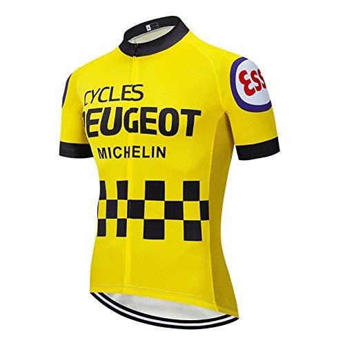 STEPANZU Abbigliamento Ciclismo Uomo Manica Corta Maglia MTB Estivo Traspirante Magliette Ciclismo con Tasche, con Cerniera, Striscia Riflettente