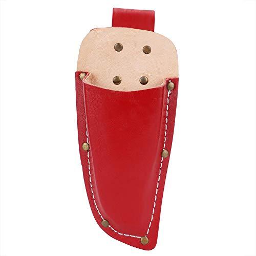 HERCHR - Soporte De Cuero para Bolsa De Jardinería, Cinturón De Cuero con Pinza para Herramientas para Alicates De Jardín, Tijeras De Podar O Cuchillo De Podar (Rojo)