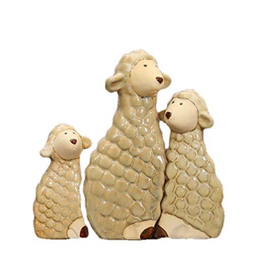 Adornos Estatuas Esculturas Estatua Adornos Esculturas Figuras de Oveja de Porcelana Cerámica Hecha a Mano Cordero Jumbuck Miniatura Año de Nacimiento Decoración Artesanía Presente Adorno AC