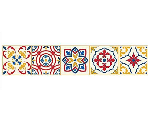 Pegatinas para azulejos de estilo portugués, impermeables, autoadhesivas, para decoración de muebles de cocina, baño, 20 cm x 100 cmX1 unids