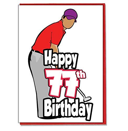 Golf/Golfer - 77e verjaardagskaart - mannen, zoon, kleinzoon, vader, broer, man, vriend, vriend